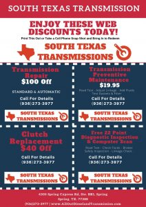 Transmission Repair Shop Spring TX Coupons